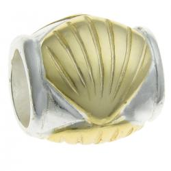 14k  Gold on 925 Sterling  Silver SEA SHELL Bead 9.2mm for European Charm Bracelets