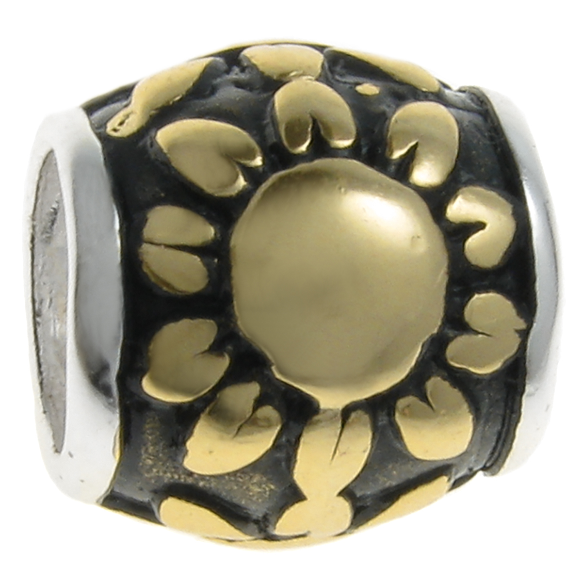 e8b902df4 14K Gold On Sterling Silver Sunflower And Sun Bead Compatible With Pandora  European Story Charm Bracelets
