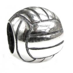 Sterling Silver Volleyball Ball Bead for European Story Charm Bracelets