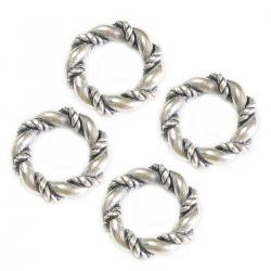 4 pcs Sterling Silver Twist Ring Spacer for Pandora Troll European Bracelets