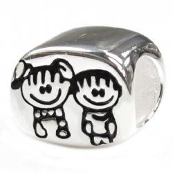 Sterling Silver Brother & Sister / boy & girl Bead for Pandora Troll Chamilia Biagi European Charm Bracelets
