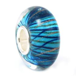 Sterling Silver Murano Stripe Wave Blue Gold Glass Bead for Pandora Troll Chamilia Biagi European Charm Bracelets