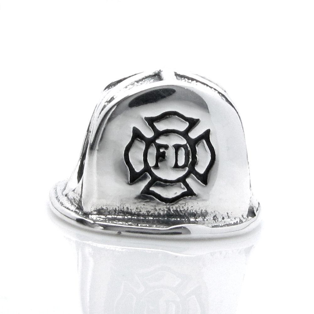 0c2274d76 Sterling Silver Fire Fighter Helmet Firefighter Fireman Hat Bead F/ Pandora  Troll Chamilia Biagi European Charm Bracelet