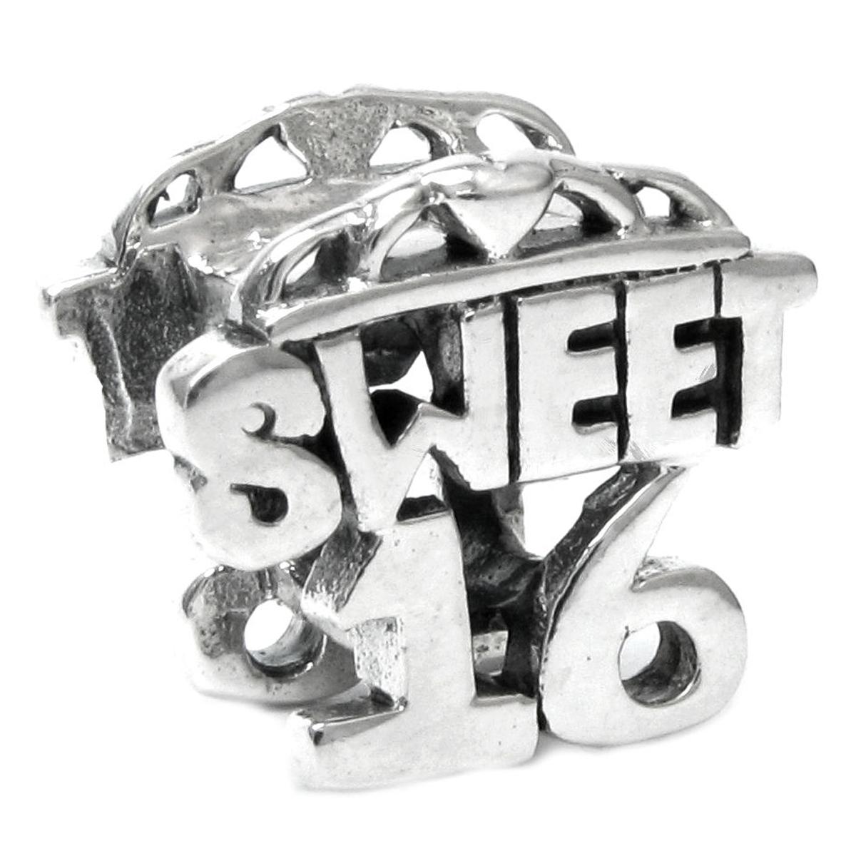 56ca35876 Sterling Silver Sweet 16 Sixteen Birthday Heart Love Bead For Pandora Troll  Chamilia Biagi European Charm Bracelets