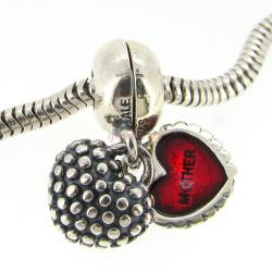 .925 Sterling Silver Mother Daughter You & me Love Heart Red Enamel Pendant Dangle Family Bead for Pandora Troll Chamilia Biagi European Charm Bracelets