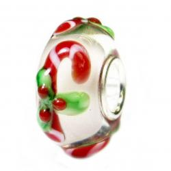 Sterling Silver Candy Cane Stick Christmas Red Green Gift Glass Holiday Bead for Pandora Troll Chamilia Biagi European Charm Bracelets