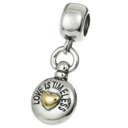 14k Gold on Sterling Silver Timeless Love Heart Pocket Watch Dangle Bead for Pandora Troll Chamilia Biagi European Charm Bracelets