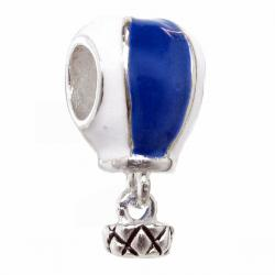 Sterling Silver Blue and White Hot Air Balloon Travel Dangle Bead for Pandora Troll Chamilia Biagi  European Charm Bracelets