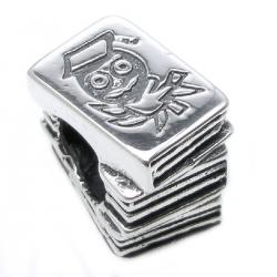 Sterling Silver Wise Owl Scholar Books Education Bead for Pandora Troll Chamilia Biagi European Charm Bracelets