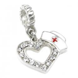 .925 Sterling Silver Heart Love with Nurses Cap Hat Clear Crystal Enamel RN Red Cross Dangle Bead for Pandora Troll Chamilia Biagi  European Charm Bracelets