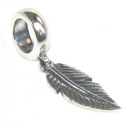 Antique Sterling Silver Angel Feather Dangle Bead for Pandora Troll Chamilia Biagi European Charm Bracelets