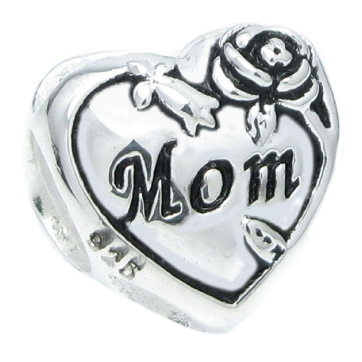 3cfc102b9d53d Queenberry.com: Sterling Silver Love Mom Heart Rose Flower Bead For ...