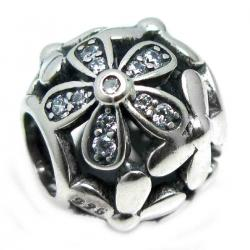 925 Sterling Silver Daisy Flower Blossom Clear CZ Crystal Bead for European Charm Bracelets