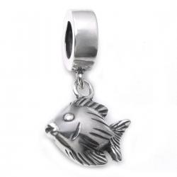 .925 Sterling Silver Tropical Reef Angel Fish Dangle Bead for Pandora European Charm Bracelets