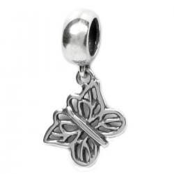 .925 Sterling Silver Filigree Butterfly Dangle Bead Charm / Pendant for Pandora European Charm Bracelets
