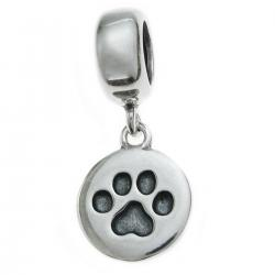 Antique 925 Sterling Silver Round Dog Paw Puppy Dangle Charm Bead Pendant for European Charm...