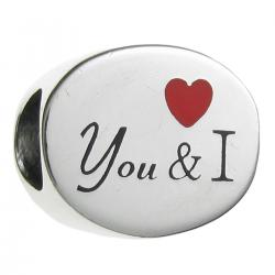.925 Sterling Silver Valentine You & I Love Heart Red Enamel Bead for European Charm Bracelets