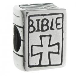 Sterling Silver Christian Bible Book Cross Bead for European Charm Bracelets