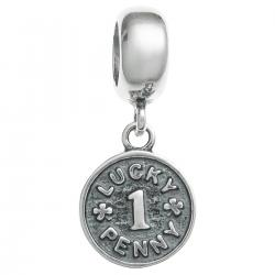 Antique 925 Sterling Silver Lucky Penny Coin Dangle Bead for European Charm Bracelets
