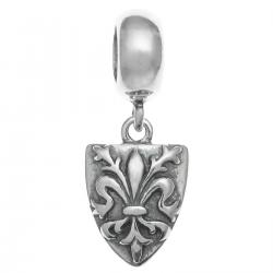 Antique 925 Sterling Fleur-de-lis Flower Scout Shield Dangle Bead for European Charm Bracelets