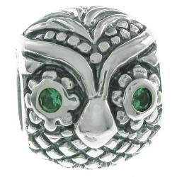 925 Sterling Silver Owl Bird Green CZ Bead for European Charm Bracelets