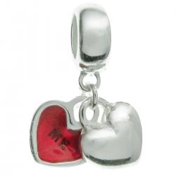 925 Sterling Silver Valentine Love You & Me Forever Red Enamel Dangle Bead for European Charm...