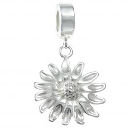925 Sterling Silver Daisy Sun Flower Dangle Bead for European Charm Bracelets