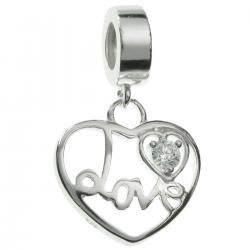 925 Sterling Silver Love Heart Clear CZ Dangle Bead for European Charm Bracelets