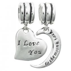 "925 Sterling Silver ""I Love You to the Moon & Back"" Heart Dangle Bead for European Charm Bracelets"