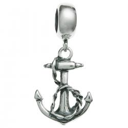 Antique 925 Sterling Silver Ship Anchor Dangle Bead for European Charm Bracelets
