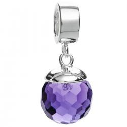 925 Sterling Silver Purple CZ Crystal Dangle Pendant Birthstone February Bead for European Charm...