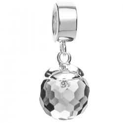 Sterling Silver Clear Crystal Disco Ball Birthstone April Dangle Bead for European Charm Bracelets