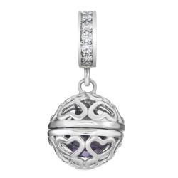 Rhodium on 925 Sterling Silver February Imitation Birthstone Purple Dangle Bead for European Charm...