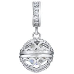 Rhodium on 925 Sterling Silver April Imitation Birthstone Clear CZ Crystal Dangle for European Charm...