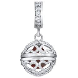 Rhodium on 925 Sterling Silver July Imitation Birthstone Red Corundum Dangle for European Charm...