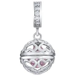 Rhodium on 925 Sterling Silver October Imitation Birthstone Pink CZ Crystal Dangle Bead for European...