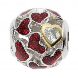 Rhodium on 925 Sterling Silver Lover Heart Infinity Love Enamel Bead for European Charm Bracelets
