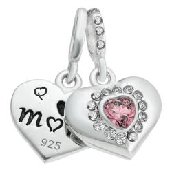 925 Sterling Silver Mom & Daughter Love Heart CZ Crystal Dangle Bead for European Charm Bracelets