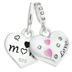 925 Sterling Silver Mom & Daughter Pink Enamel Love Heart CZ Crystal Dangle Bead for European Charm...