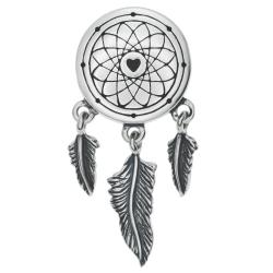 Sterling Silver Dream Catcher Net Feather Dangle Bead for European Charm Bracelets