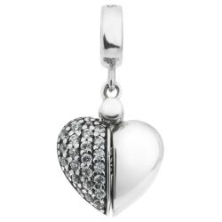 Sterling Silver I Love You Heart CZ Dangle Bead for European Charm Bracelets