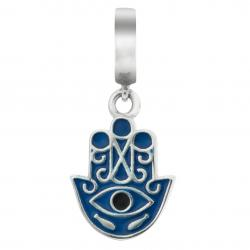 Sterling Silver Enamel Evil Eye Hamsa Hand of Fatima Protection Luck Dangle Bead for European Charm...