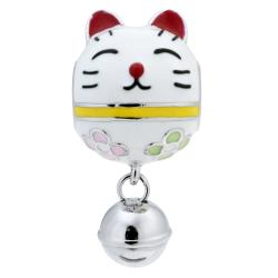 Rhodium on 925 Sterling Silver Fortune Lucky Cat Enamel Jingle Bell Dangle Bead for European Charm...