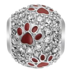 Rhodium on Sterling Silver Swarovski Crystal Red Puppy Dog Paw Bead f/ European Charm Bracelet