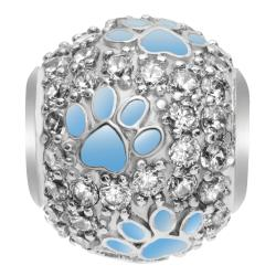 Rhodium on Sterling Silver Swarovski Crystal Blue Puppy Dog Paw Bead F/ European Charm Bracelet