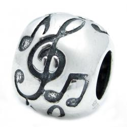 .925 Sterling Silver Treble G Clef Melody Music Note Bead For Pandora Troll Chamilia Biagi  European Charm Bracelet