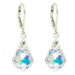 Sensational  Swarovski Crystal  Clear AB Sterling Silver Leverback Dangle Earrings
