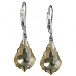 Sterling Silver Baroque Golden Shadow Crystals Leverback Dangle Earrings Using Swarovski Elements