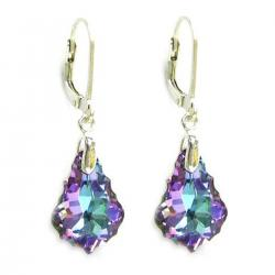 "Vitrial Light Purple Genuine Swarovski Crystals Sterling Silver Leverback 1.5"" Dangle Earrings"