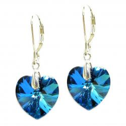 Swarovski Crystal  Flower Love Heart Bermuda Ocean Blue Sterling Silver Leverback Dangle Earrings